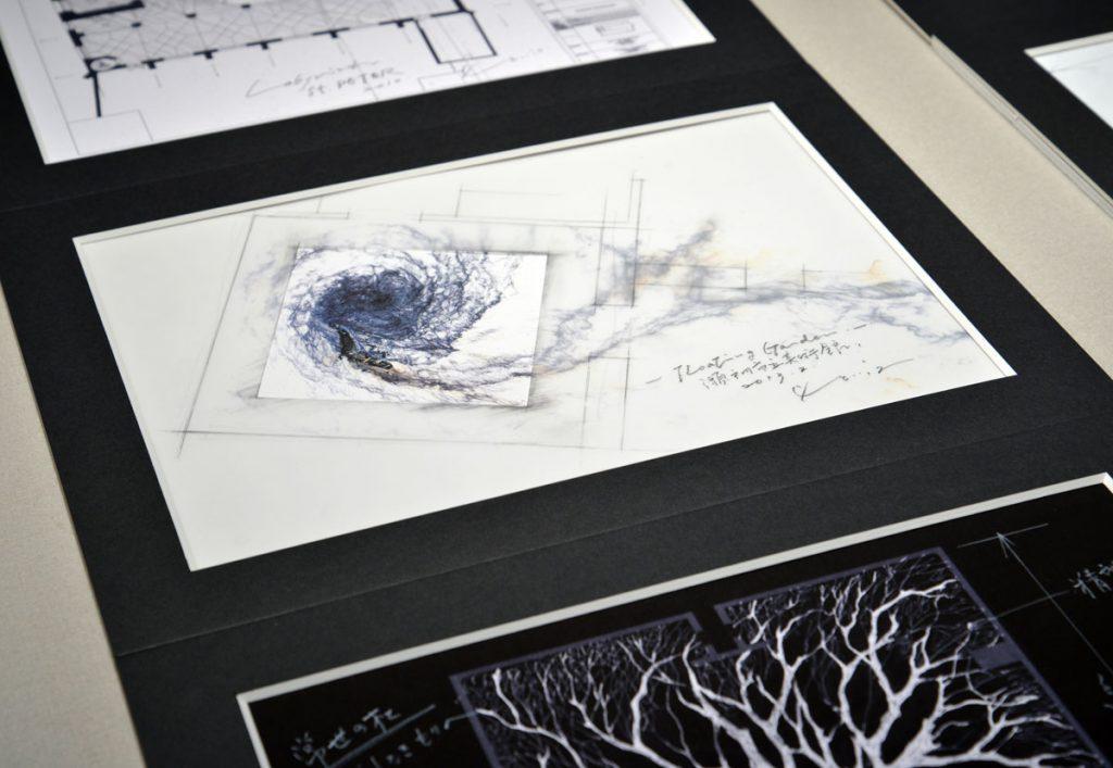 現代美術アーティスト・山本基が制作するインスタレーションのプランドローイング。