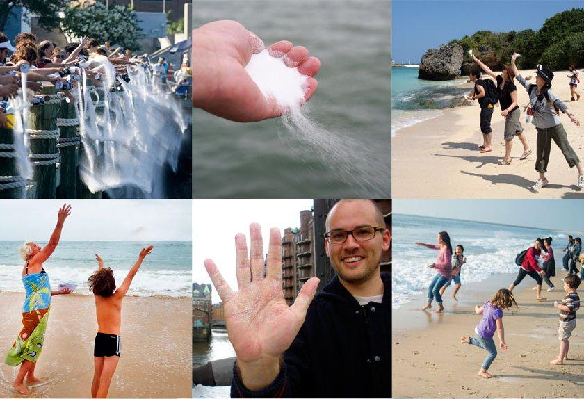 インスタレーション作品の塩を海に還すプロジェクト6枚
